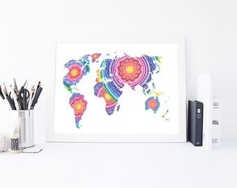 World map  - World Map Print - Mandala Wall Art - Wall Art - Home Decor - World Map Art - World Map Poster - Large World Map - World Map