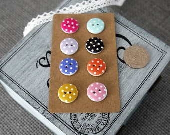 10 x Round Colourful Spotty Wooden Craft Button with 2 Holes