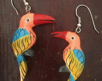 Pink Blue and Yellow Parrot Earrings
