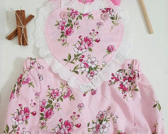 40s Vintage inspired heart romper shorts, blooming pink