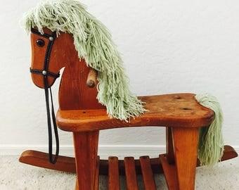 Vintage wooden rocking horse- horse nursery decor