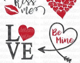 SALE! Valentine's SVG, Kiss Me Svg, Hearts SVG, Love svg, Valentine's Day Vector Cut Files, Valentine's Day Graphics Digital Download