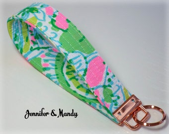 Rose Gold - Lilly Pulitzer Keychain - Coconut Jungle - Sugartown -  Embroidered Fabric Key Fob - Key Chain - Wristlet