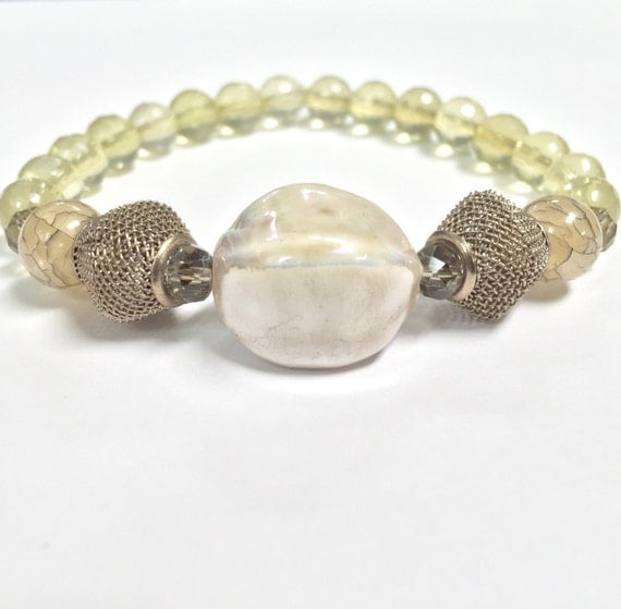 Citrine Bracelet with Ceramic Centerpiece