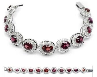 3.00ct t.w 11pcs Natural Rhodolite Garnet Bracelet With Topaz in 925 Silver