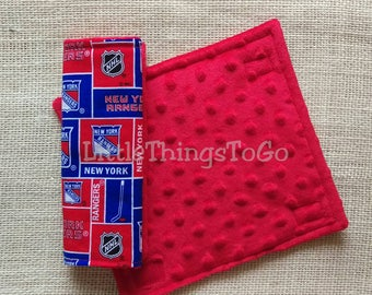 Pair of car seat strap covers NY Rangers. 8 in. Reversible soft minky. Stroller strap covers. Red and blue