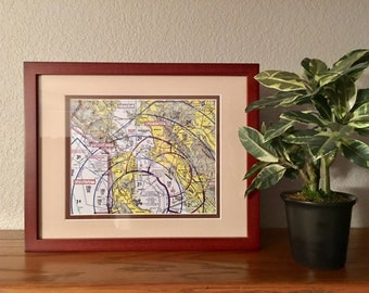 "Custom Wood Framed Aviation Maps (Sectional Charts), Gift for Pilot, Aviator, Airplane, or Airport, Unique gift for a CFI, 11""x14"""