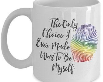 LGBTQ - The Only Choice I Ever Made Was To Be Myself 15 oz. Ceramic Coffee Mug - Nonbinary, Agender, Lesbian, Gay, Bi, Transgender
