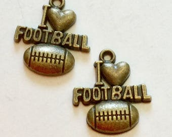 20- Antiqued Bronze Football Charms- 20 x 19mm. I Love Football
