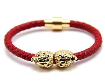 Lion Bracelet Gold / Red Nappa Leather