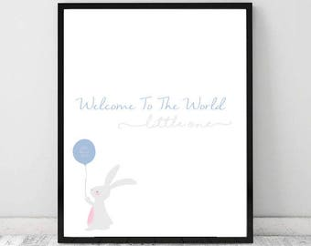 Personalised Welcome To The World (Bunny Themed) A4 Print