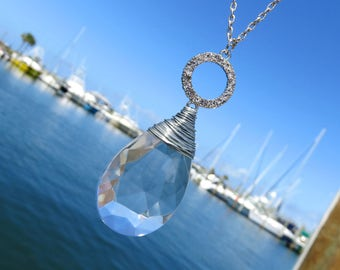 Vintage Wire Wrapped Teardrop Crystal Prism Necklace // Silver Rhinestone Circle Charm and Crystal Necklace