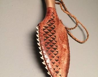 Wood Carving Hawaiian weapon(Lei o Mano) Polynesian