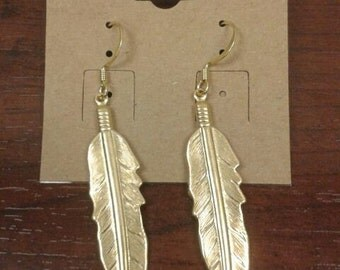 Gold Plated Feather Dangle Earrings