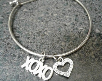 Bangle Bracelet with XoXo & Heart with Crystals - Silver Plated