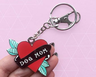 Dog Mom Charm Keychain