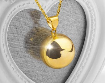 Harmony Ball HARLOW 25mm Gold Bola Ball Pendant & Necklace - Pregnancy Maternity Mexican Angel Caller Mum to Be