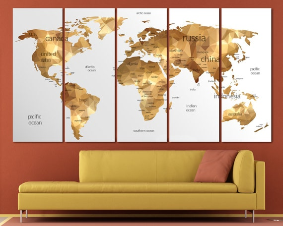 Gold World Map Wall Art.15 Off Coupon On Large Gold World Map Canvas Print Set Geometric