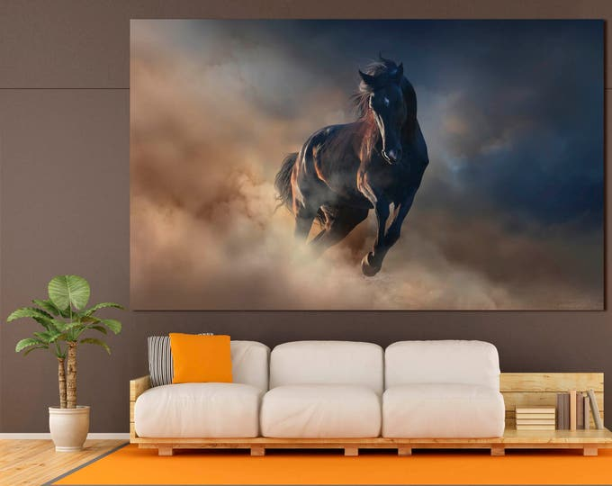 Running horse modern wall art canvas print set of 3 or 5 panels, large dark abstract running horse painting on canvas wall art