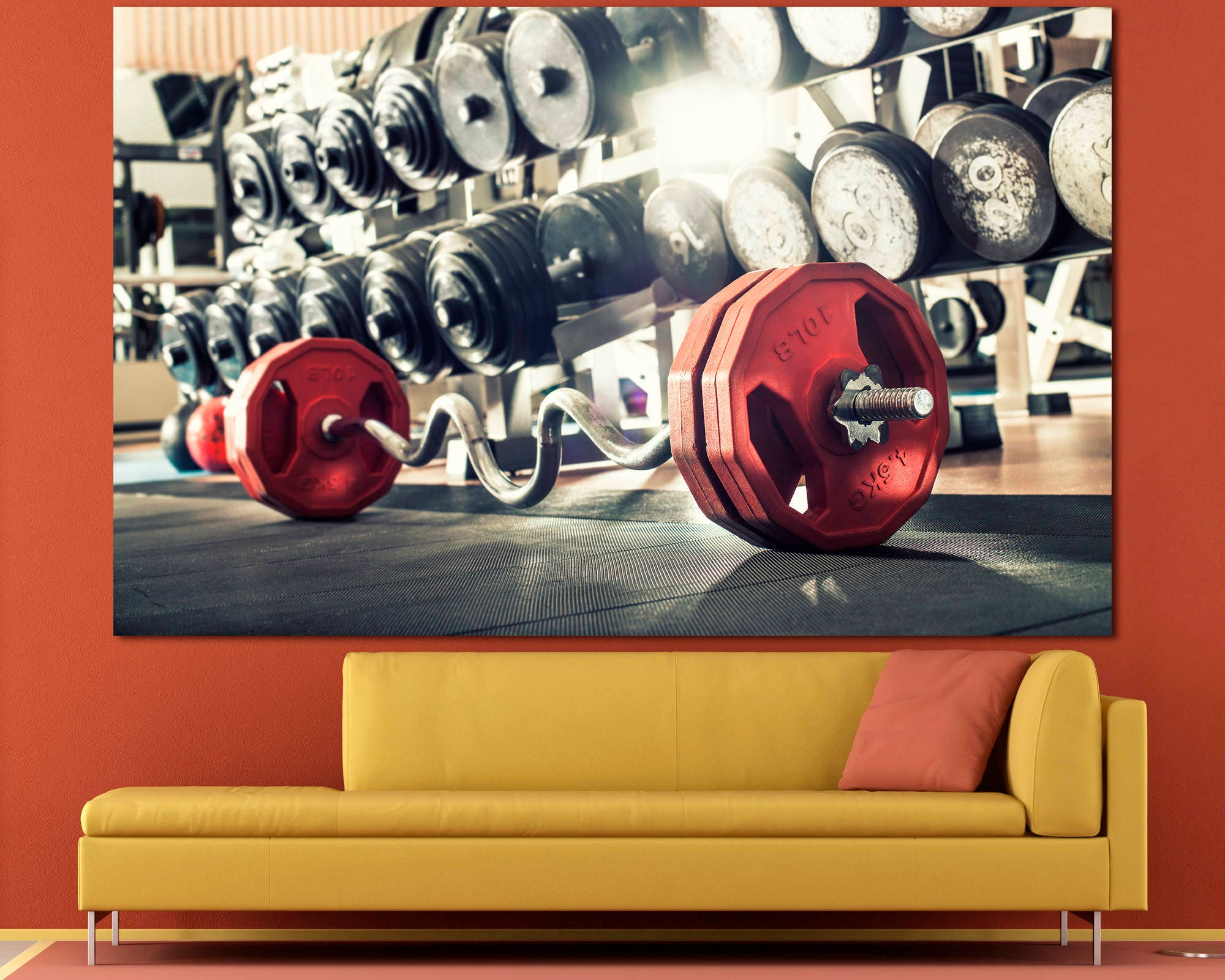 Extra large red barbell gym wall art print home decor poster