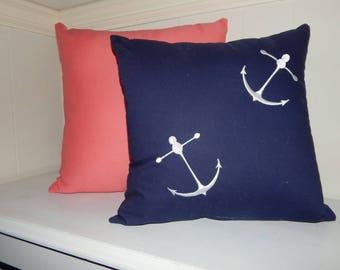 14 x 14 Nautical Anchor Pillow Cover