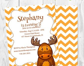 Orange deer Birthday Invitation - Invite birthday party girl boy - Instant Download