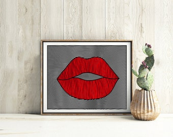 Red lips print, Lips print, Red lips wall art, Lips Wall Art, Fashion Decor, fashion wall art, fashion print, printable wall art, home decor
