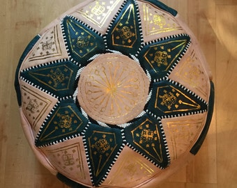Moroccan Leather Pouffe - green hand-stitched with silk