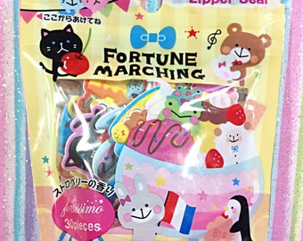 Fortissimo Fortune Marching sticker sack - kawaii sticker sack - sticker flakes - puffy sticker flakes