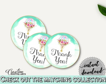 Round Tags Baby Shower Round Tags Hot Air Balloon Baby Shower Round Tags Baby Shower Hot Air Balloon Round Tags Green Pink CSXIS
