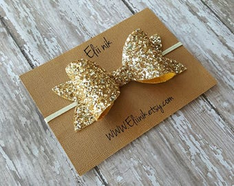 "Girl-baby gold bow headband, gold bow headband, lurge bow headband or clip, girl bow headband or clip,  4"" bow headband or clip"
