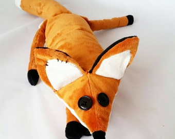 Little Prince Fox, handmade plush fox, prince fox, cuddly fox, rust red fox, button eye fox