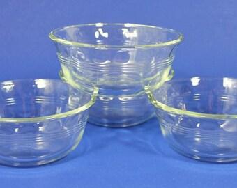 Larger Pyrex Custard Bowls Thumbprint Pattern # 464 Set of (4) 10oz, 1950s Vintage