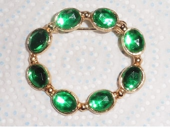 Vintage Gold Plated Green Stone Brooch