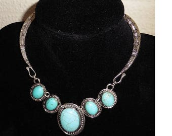Boho Turquoise and silver plated necklace