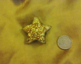 Gold glitter star resin magnet