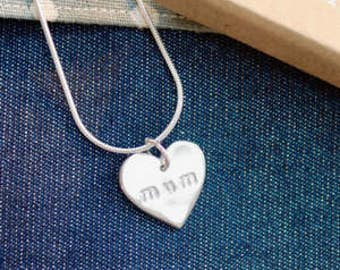 Fine Silver Heart Shaped Mum Necklace