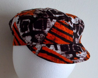 Orange and Brown African Graphic Print Infant Cap