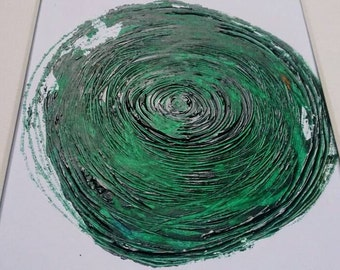 SALE Abstract Painting Circle Green Original Art Mounted  Wall Art 8 x 10 Mix and Match series