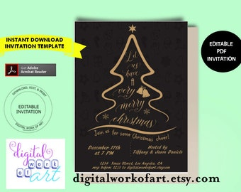 Christmas Tree Card Invitation Template, Let Us Have a Very Merry Christmas, Home Office Gold Christmas Party Invitation Printable Download