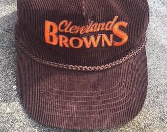 Vintage 80s Cleveland Browns Felt Brown Snap Back Hat