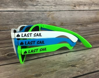 Last Sail before the Veil ADULT Personalized Sunglasses, Nautical Sunglasses, Bachelorette Party, Boat Theme Favors, Bridal Party Weekend