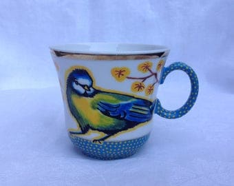 Little bone china vintage cup/ mug Handpainted with a bluetit and blossom