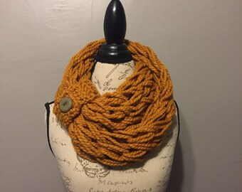 Infinity Scarf, Knit, Butterscotch, Women's Scarf, Fashion scarf, Button accent