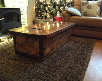Morbihan coffee table with storage and tea light recesses