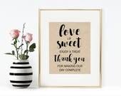Love is Sweet Printable - Instant Download, Treat Wedding Sign, Wedding Favor Sign Printable, Enjoy a Treat Printable, Rustic Wedding, 8x10