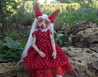 OOAK bjd resin doll sphynx cat.  Ball jointed doll by Juliya Nechaeva . 30 cm tall