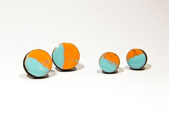 Earrings wooden circles Orange/turquoise