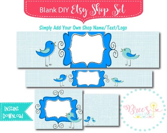DIY Instant Download Blank DIY Etsy Shop Banner Set - Shop Icon Included - Premade -  Blue Birds
