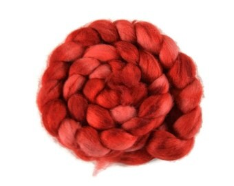 BFL 4 oz hand dyed roving, Combed Top, Blue Faced Leicester spinning fiber, red - Cherry Pie